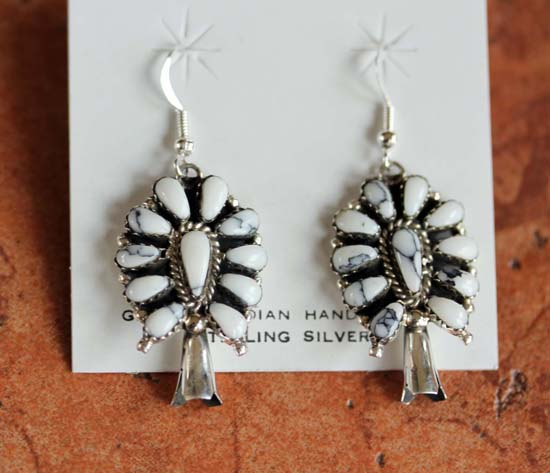 Navajo Sterling Howlite Cluster Earrings