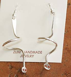 Zuni Silver Coral Spiral Earrings by Effie C