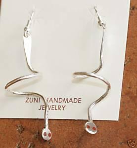 Zuni Silver Coral Spiral Earrings by Effie C