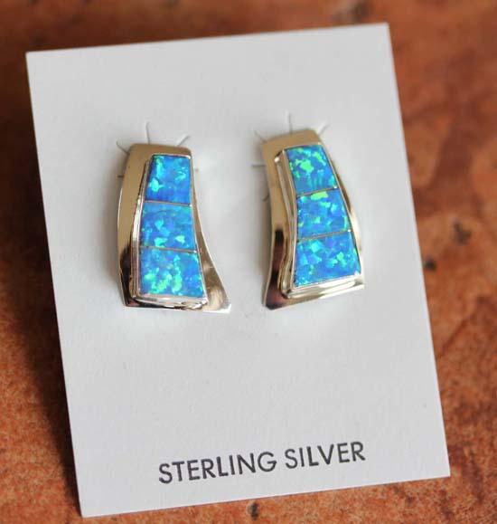 Zuni Sterling Silver Created Opal Earrings