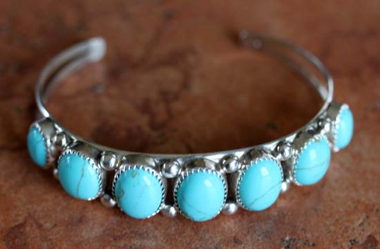 Navajo Silver Turquoise Bracelet by Patrick Yazzie