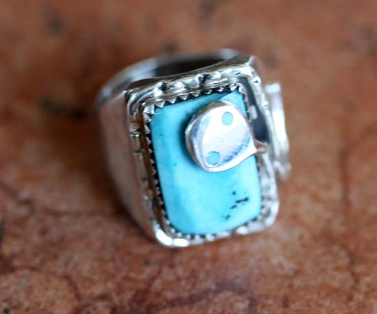 Signed Zuni Turquoise Ring Size 6 by Effie C