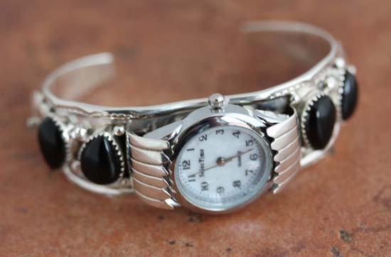 Navajo Silver Onyx Watch Bracelet