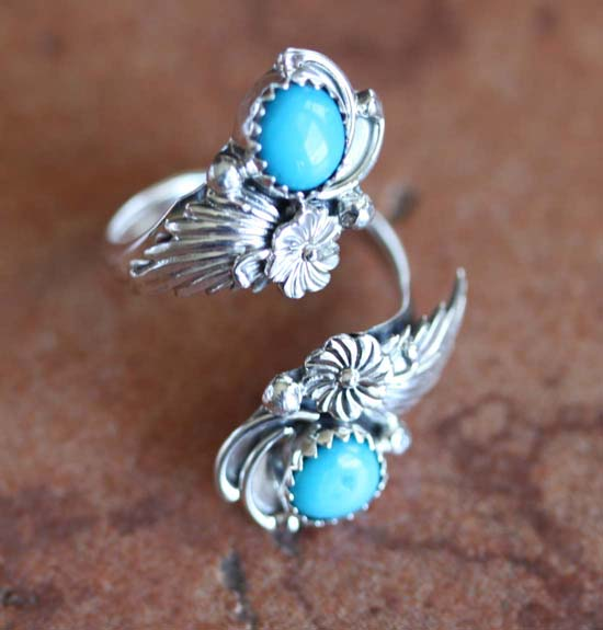 Navajo Silver Turquoise Ring Size 6_8
