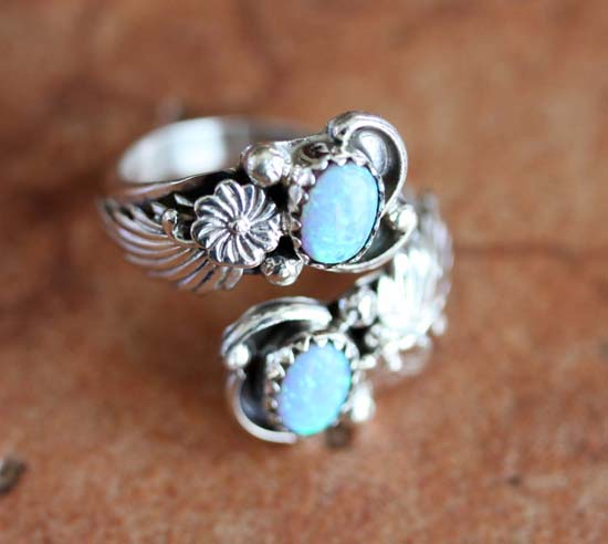 Navajo Silver Created Opal Ring Size 6_8
