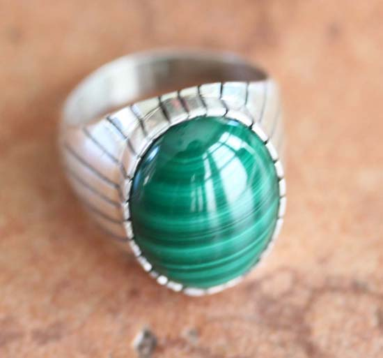 Navajo Silver Malachite Ring Size 10 1/2