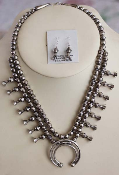 Navajo Silver Squash Blosssom Necklace Set