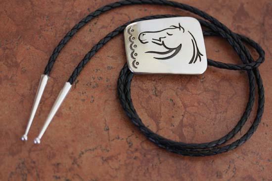 Navajo Sterling Silver Horse Bolo Tie