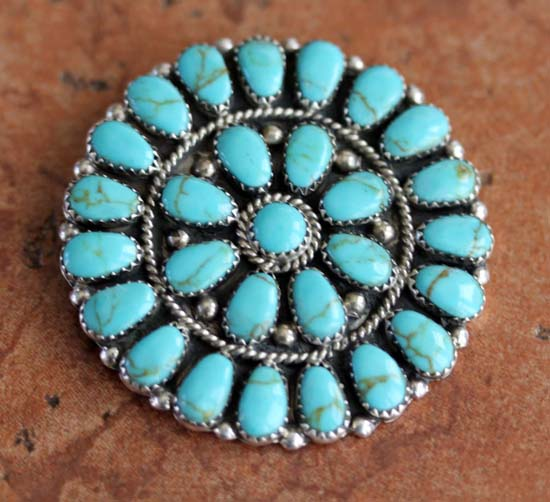 Navajo Turquoise Cluster Pin