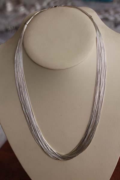 Beaded Liquid Silver 20 Strand Necklace