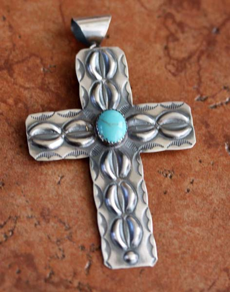 Navajo Sterling Turquoise Cross Pendant