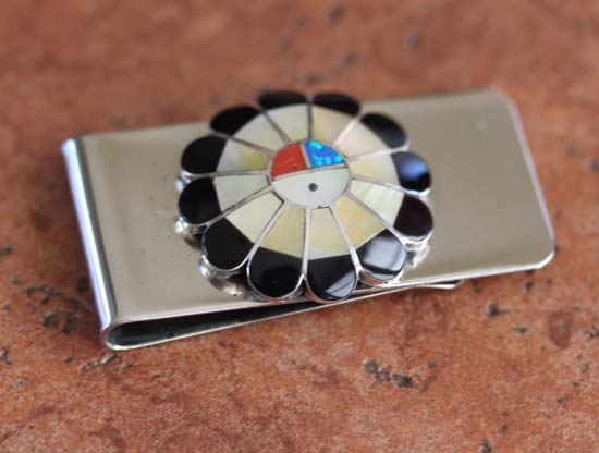 Zuni Sunface Multi_Stone Money Clip