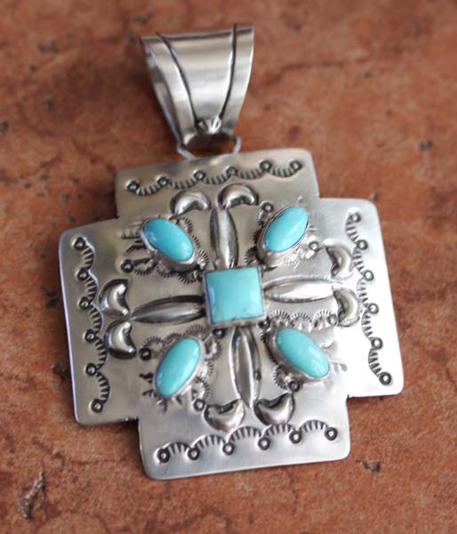 Navajo Sterling Turquoise Cross Pendant