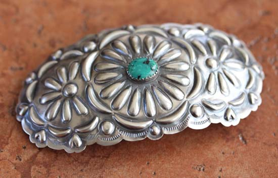 Navajo Silver Turquoise Hair Barrette