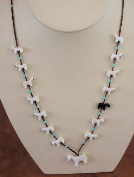 Navajo Fetish Beaded Black Sheep Necklace