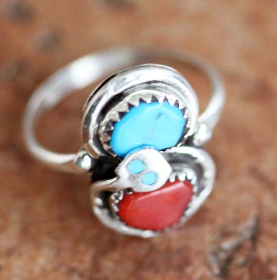 Signed Zuni Turquoise Coral Ring Size 6 1/2 by Effie C