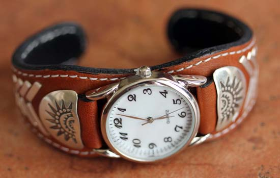 Navajo Leather Men's Watch Bracelet by Frank Abeyta