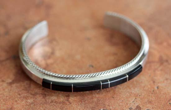 Navajo Silver Onyx Bracelet by F Yazzie