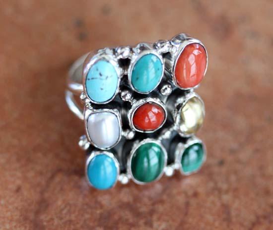 Nakai Navajo Multi_Stone Ring Size 5