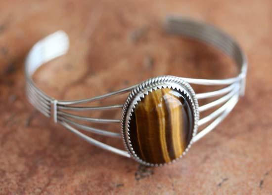 Navajo Silver Tiger Eye Bracelet by Patrick Yazzie