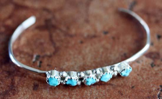 Navajo Sterling Silver Turquoise Children's Bracelet