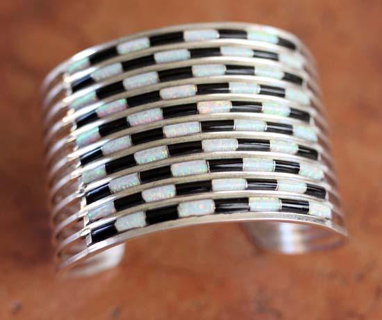 Zuni Sterling Silver Onyx Created Opal Bracelet by AL Wallace