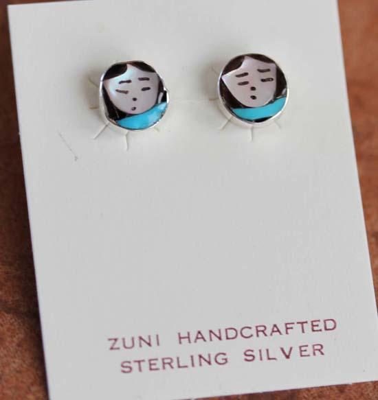 Zuni Silver Multi_Stone Maiden Earrings