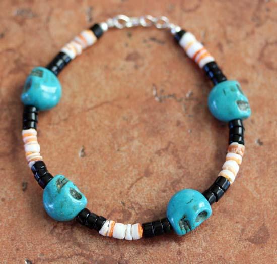 Navajo Silver Beaded Nugget Skull Bracelet