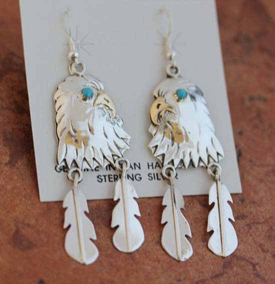 Navajo Sterling Silver Turquoise Eagle Earrings