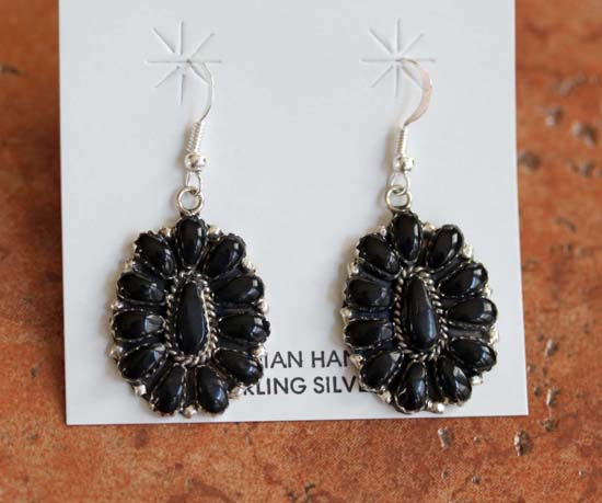 Navajo Sterling Onyx Cluster Earrings
