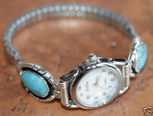 Navajo Turquoise Ladies Watch by James Toadelena