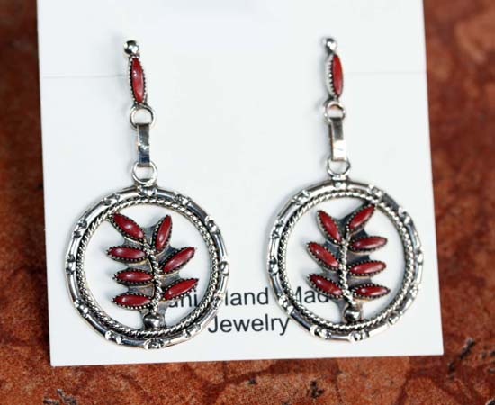 Zuni Silver Coral Earrings