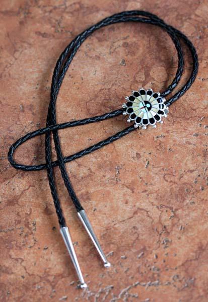 Zuni Multi_Stone Sunface Bolo Tie