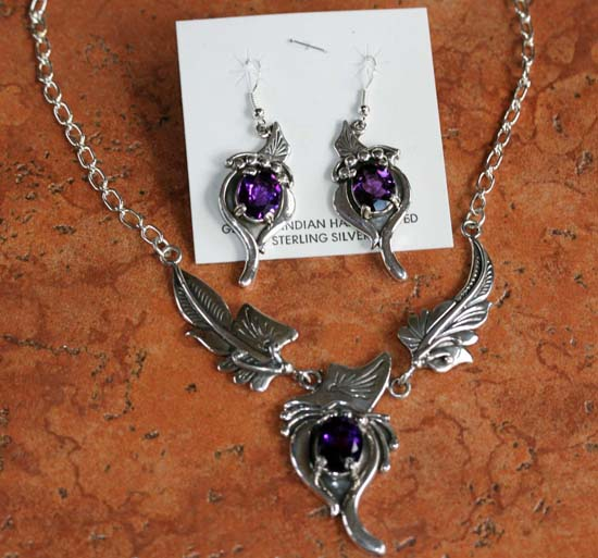 Navajo Silver Amethyst Necklace Earrings Set