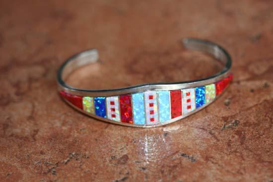Zuni Silver Created Opal Bracelet