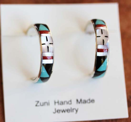 Zuni Silver Multi_Stone Earrings