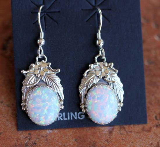 Navajo Sterling Silver Created Opal Earrings