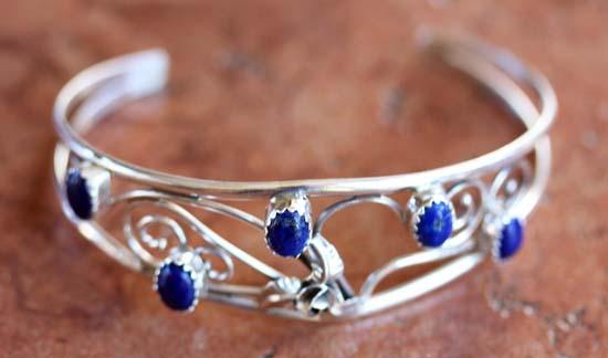 Navajo Silver Lapis Bracelet by C Nez