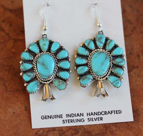 Navajo Sterling Turquoise Cluster Earrings