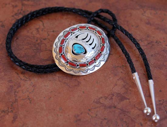 Navajo Silver Turquoise Coral Bear Paw Bolo Tie