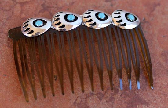 Navajo Turquoise Bear Paw Hair Barrette