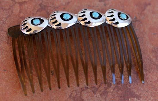Navajo Turquoise Bear Paw Hair Barrette