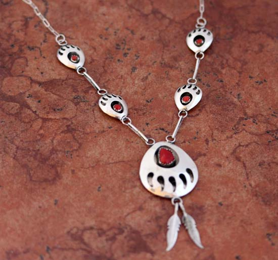 Navajo Coral Bear Paw Necklace