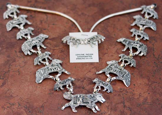 Navajo Silver Wolf Necklace Set by Becenti