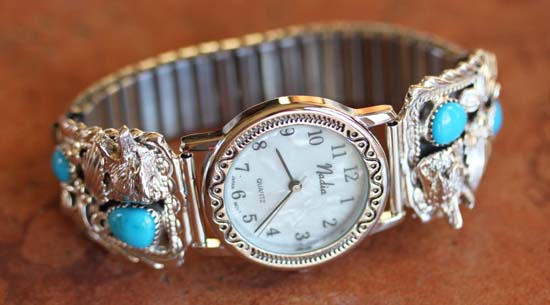 Navajo Wolf Turquoise Men's Watch