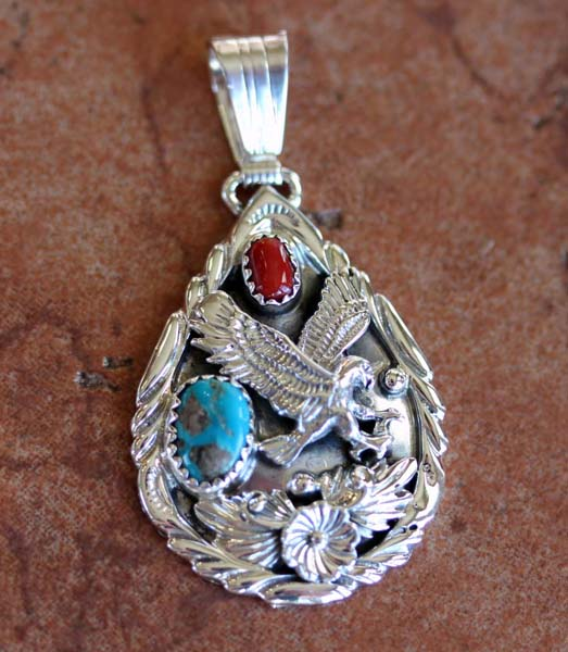 Navajo Turquoise Coral 3D Eagle Pendant