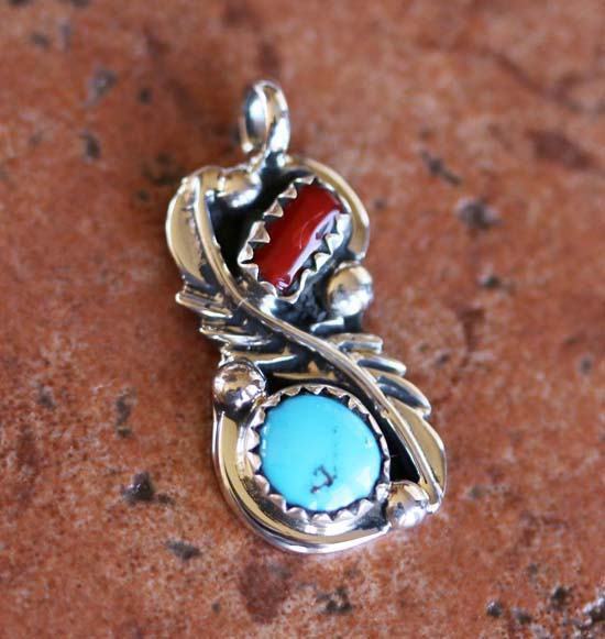 Navajo Silver Turquoise Coral Pendant