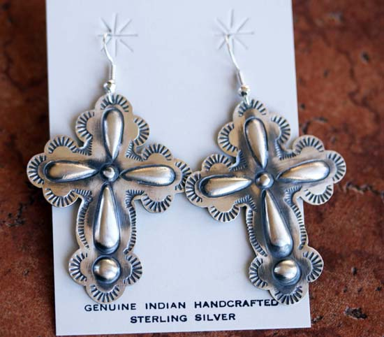 Navajo Sterling Silver Cross Earrings