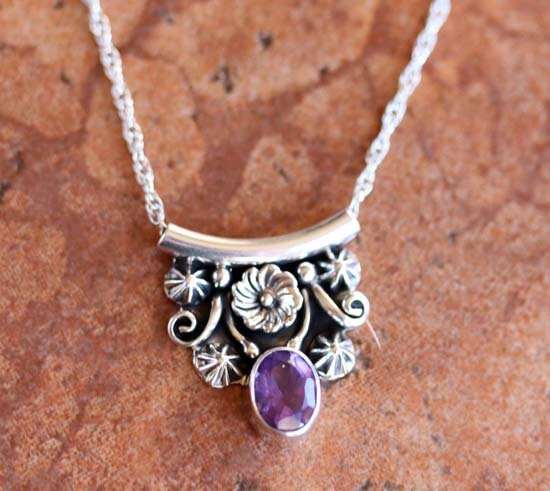 Navajo Silver Amethyst Necklace