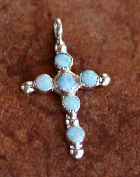 Zuni Silver Created Opal Cross Pendant